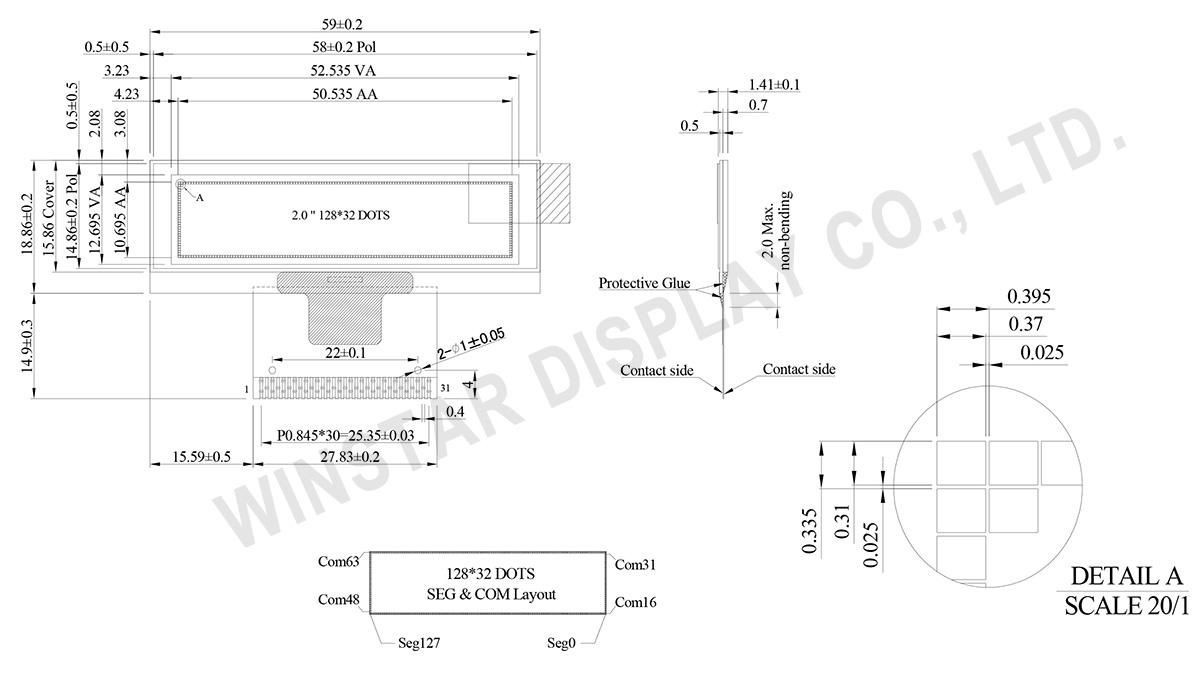 2 inch 128x32 OLED Display Module - WEO012832K - Winstar