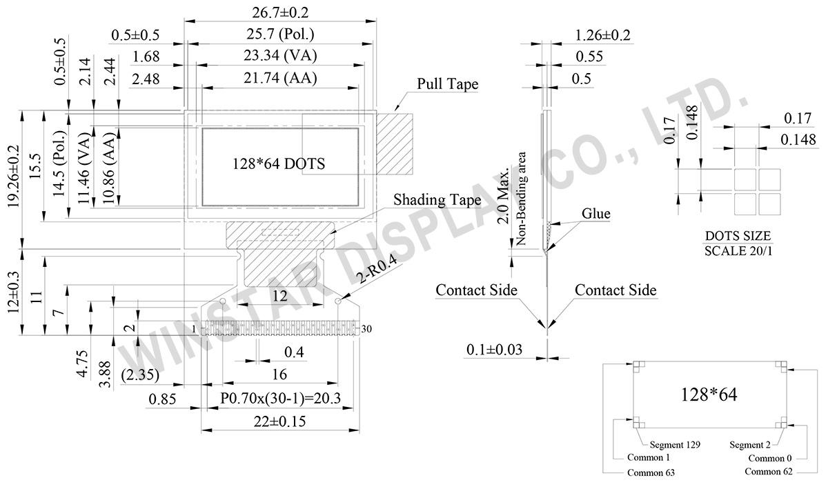 128x64 OLED Display, 128x64 OLED LCD, OLED 128x64, OLED Display 128 x 64 - WEO012864C