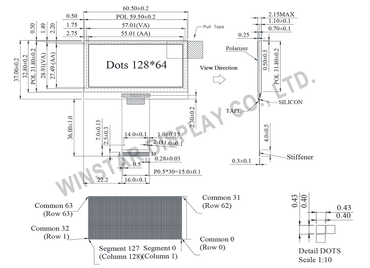 2.42 OLED Graphic Display 128x64 - WEO012864G
