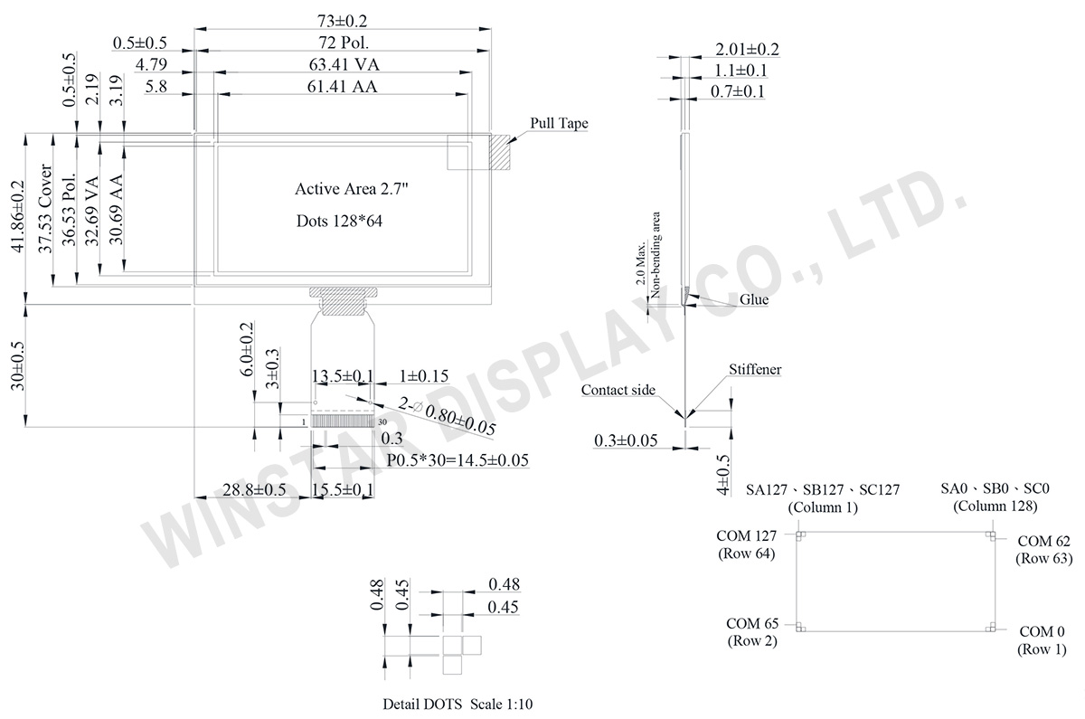 "SPI/I2C 128x64 OLED 2.7"" with Hot bar FPC, 128x64 I2C OLED Display - WEO012864U"