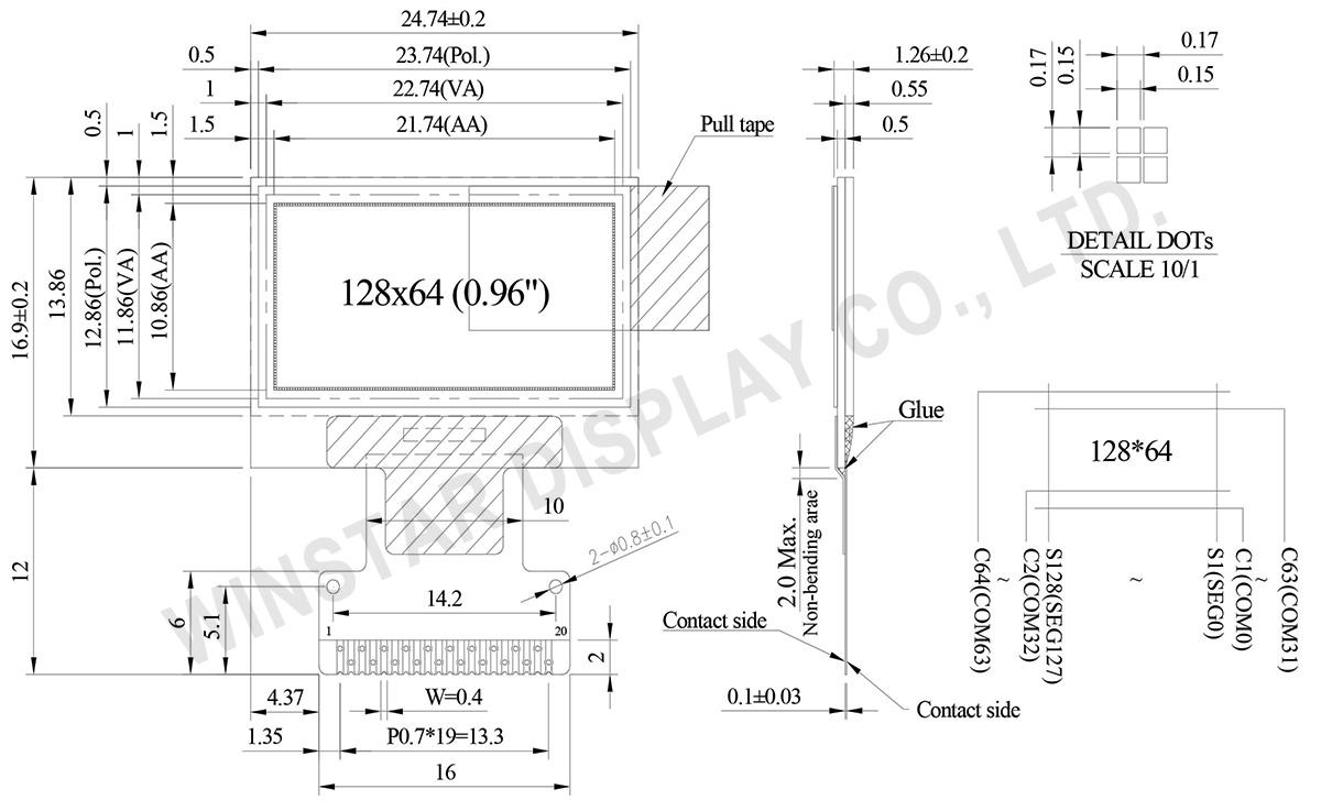 SSD1315 OLED, 0.96 inch 128x64 SSD1315 OLED Display Module - WEO012864V
