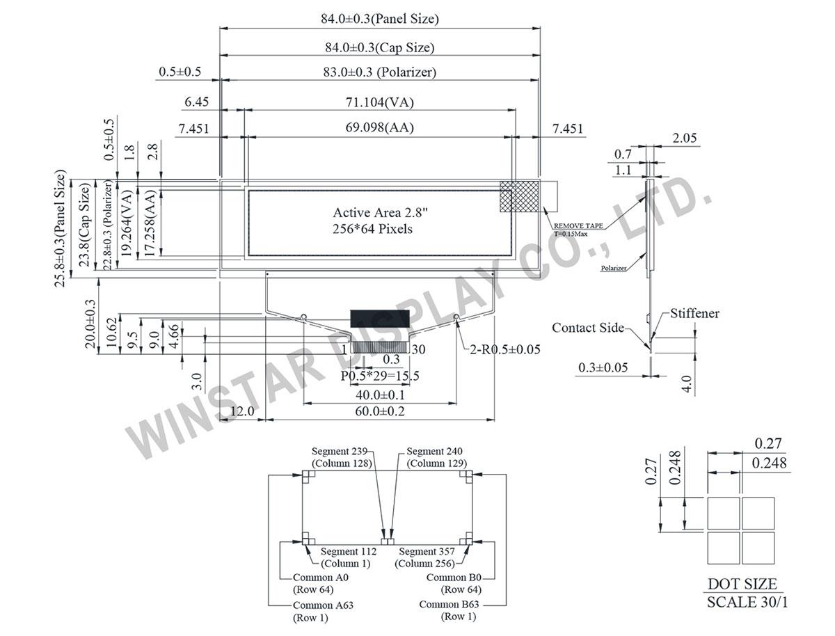 2.8 OLED, OLED 256x64, OLED Display 256x64, SSD1322 OLED - WEX025664A