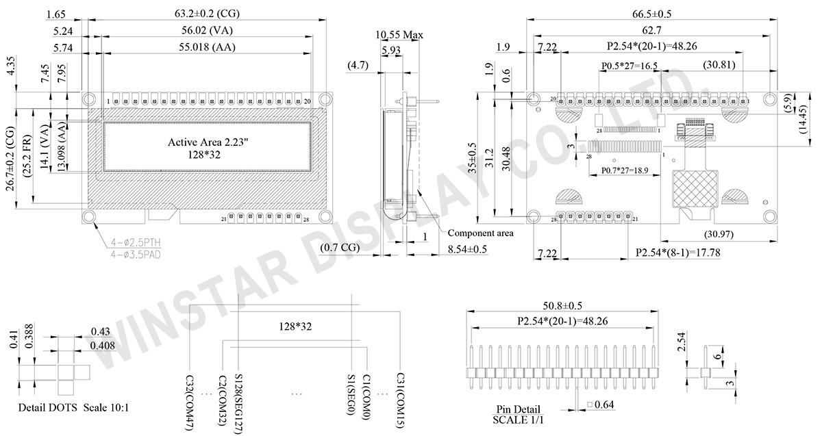 2.23 128x32 Capacitive Touch OLED Display - WEP012832A-CTP - Winstar Display