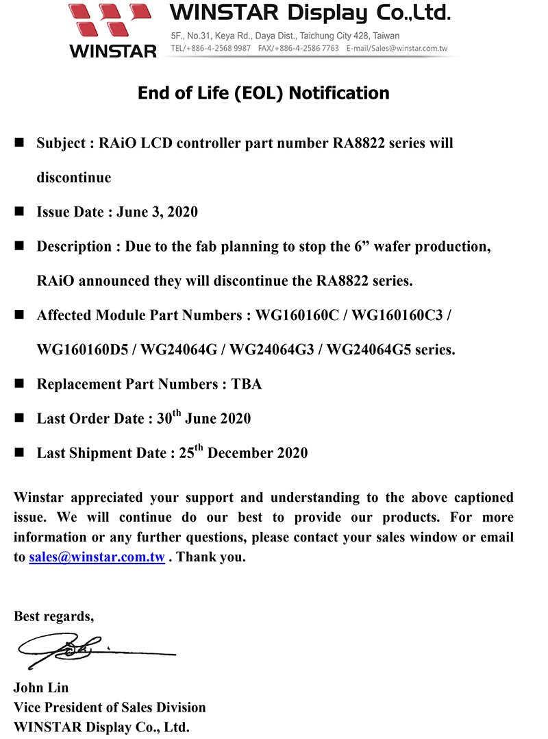 Subject : RAiO LCD controller part number RA8822 series will discontinue