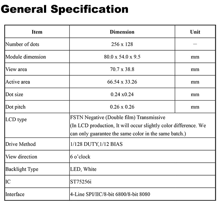 General Specification - WO256128A-TDI