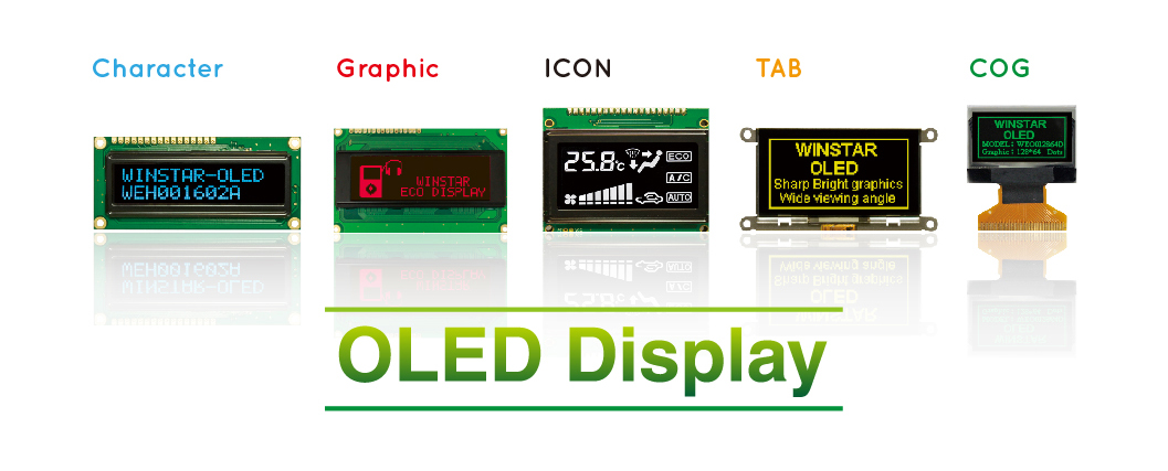 Winstar OLED including Character OLED, Graphic OLED, Sunlight Readable OLED, COG OLED, OLED TAB, ICON OLED