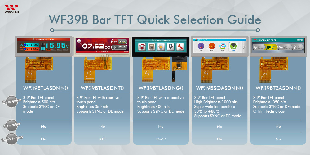 WF39B Bar TFT Quick Selection Guide - Winstar