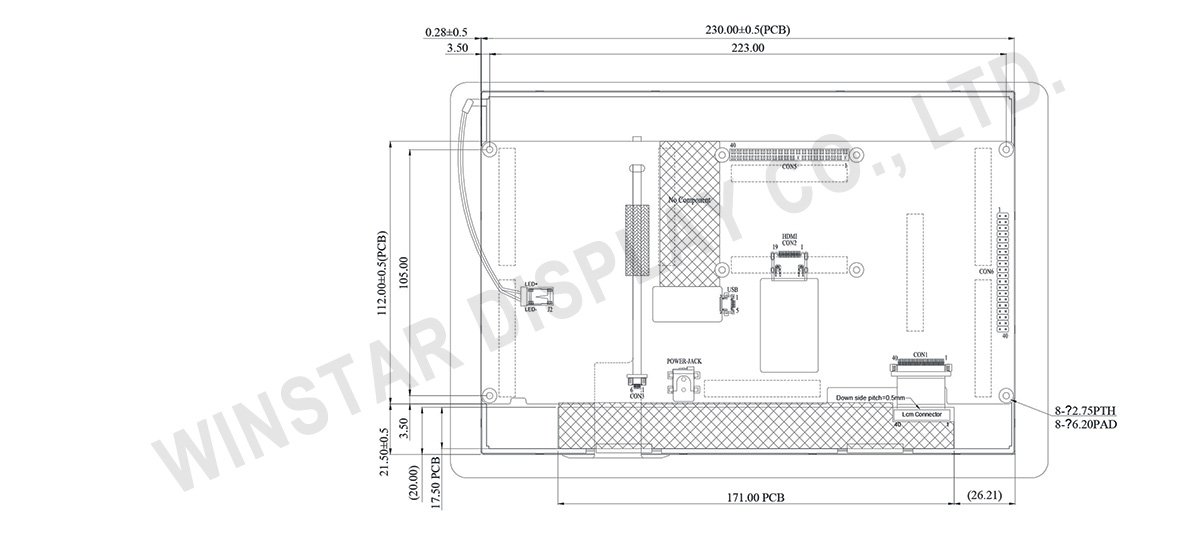 "Winstar - 10.1"" HDMI Interface IPS TFT-LCD (PCAP) - WF101FSYFPLHGV"