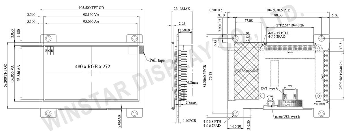 4.3 inch 480x272 For HDMI Signal High Brightness TFT Display - WF43WSYFEDHNV