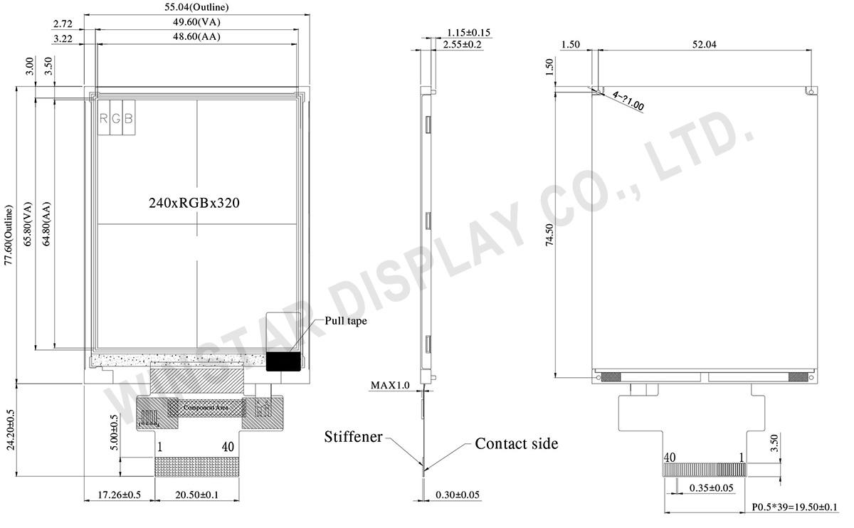 3.2 inch High Brightness 240x320 TFT Module - WF32DSLAJDNN0