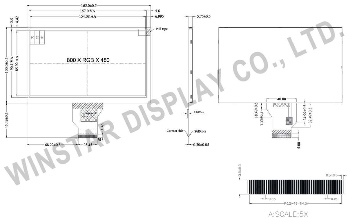 7 inch Sunlight Readable Displays TFT - WF70A2SIAGDNN0 - Winstar Display