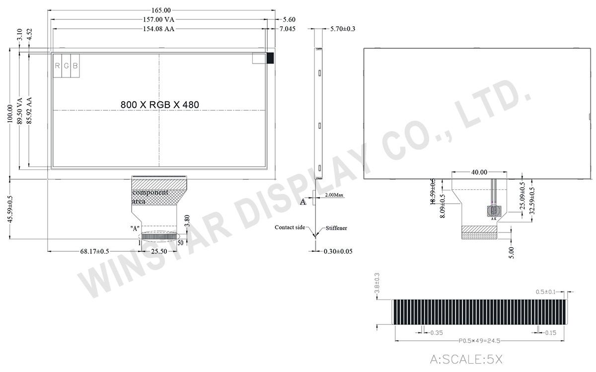 800x480 ST-5623 TFT LCD Display Module 7 - WF70A2TIAGDNN0 - Winstar