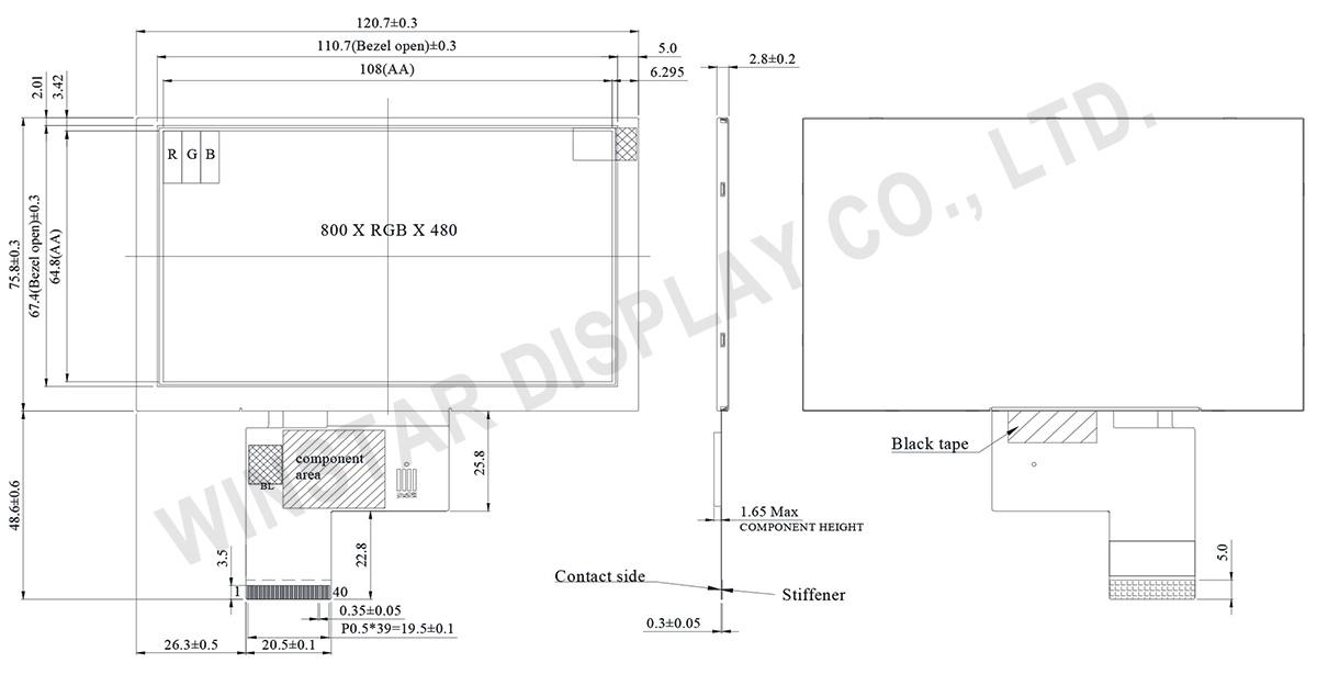 5 inch 800x480 IPS TFT LCD Panel - WF50FTWAGDNN0 - Winstar