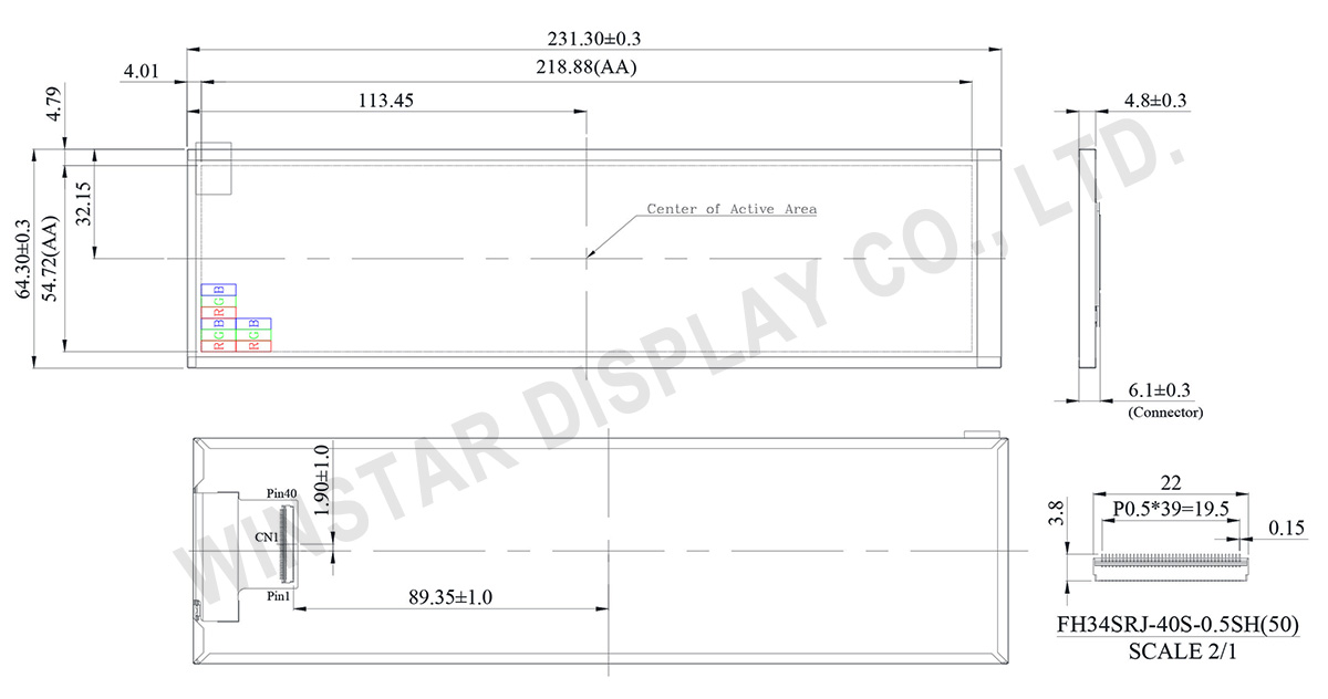"8.8"" 480x1920 IPS TFT LCD Display - WF88BTYA8MNN0 - Winstar Display"