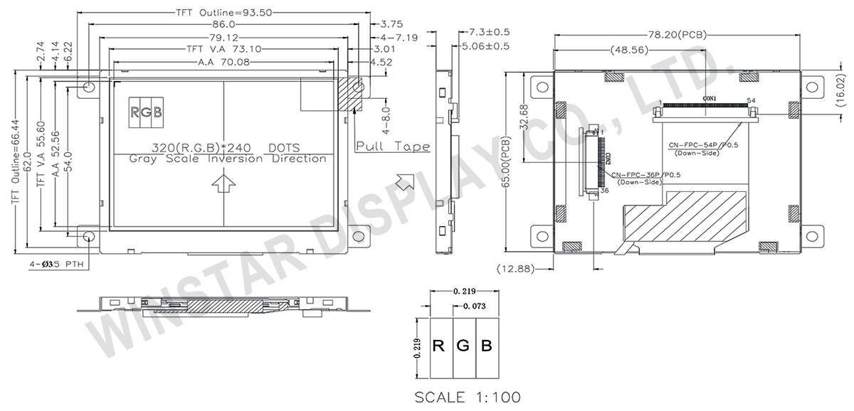 winstar 3 5 tft lcd display