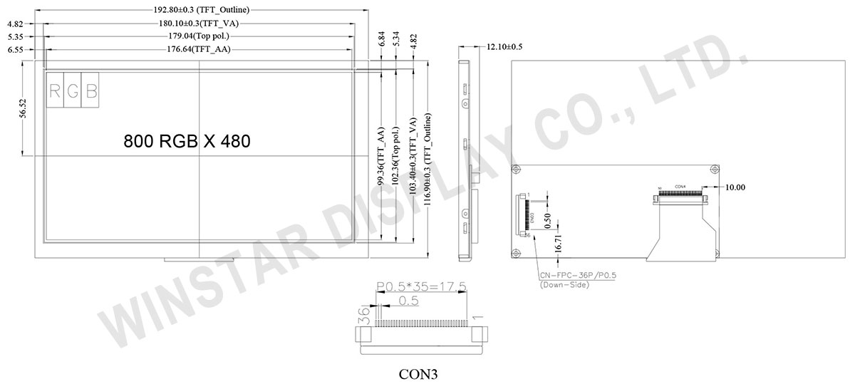 "8.0"" TFT LCD Display with Controller Board"