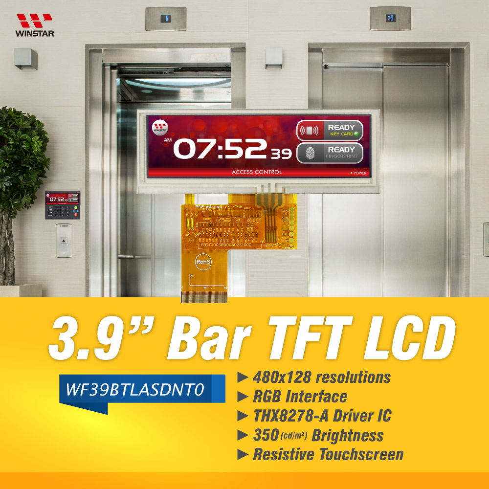 Bar-Typ TFT Farbdisplay (RTP) 3,9