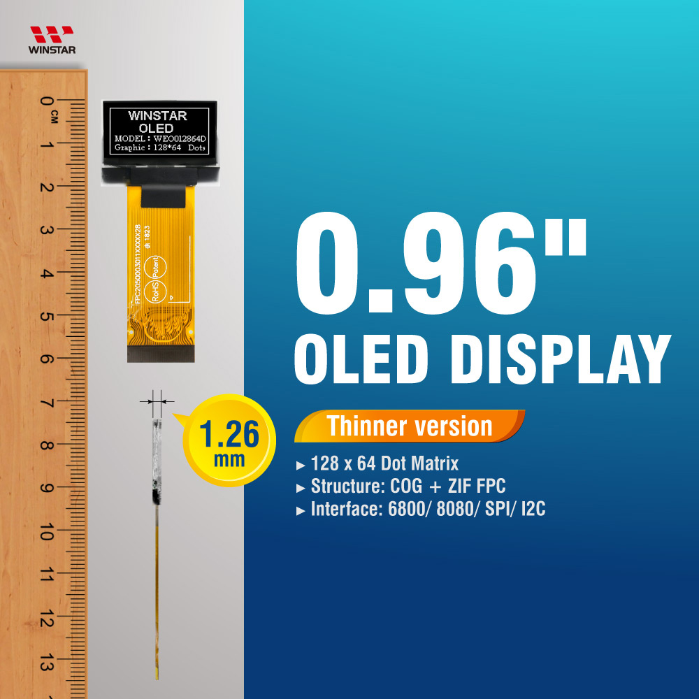 0.96 Moduli Display OLED 128x64 (Thinner version) - ZIF FPC