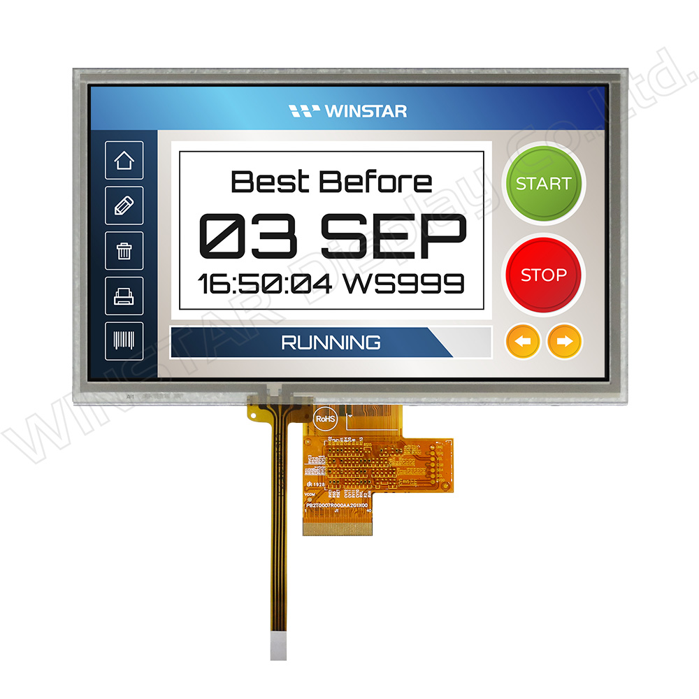 "7"" 1024x600 High Brightness LVDS IPS TFT LCD Panel with RTP - WF70A8SYAHLNT0"