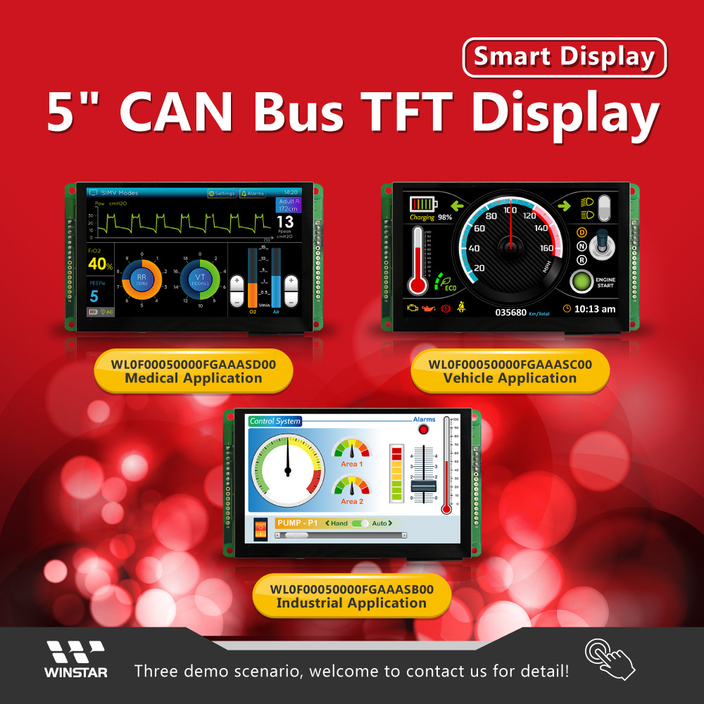 5 inch CAN Bus TFT Display with Projected Capacitive Touch (Vehicle Application)