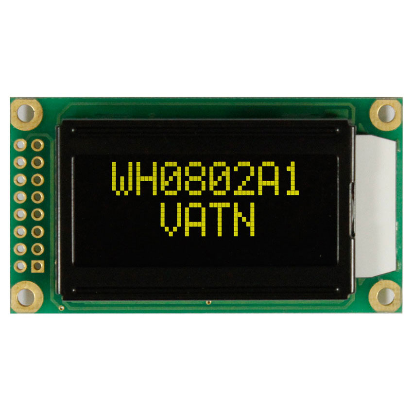 VATN LCD 8x2 with Yellow-Green LED Backlight